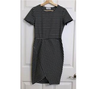 Zara Trafaluc Striped Asymmetric Bodycon Dress